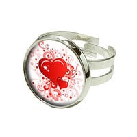 Red Heart Swirl Pattern - Love Silver Plated Adjustable Novelty Ring
