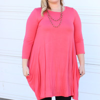 Simple & Sweet Dress with Pockets ~ Coral ~ Sizes 12-18