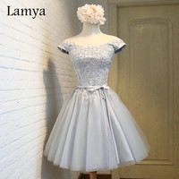 Lamya 2017 Short Lace Prom Dresses Customized Elegant Evening Party Homecoming Dress Women's Sexy A Line Gown EV2925