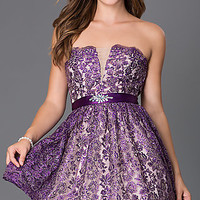 Short Strapless Lace Homecoming Dress