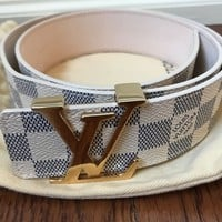 "LOUIS VUITTON - LV ""Initiales"" Belt (40mm), DAMIER Azur - size 34""/ 85 cm"
