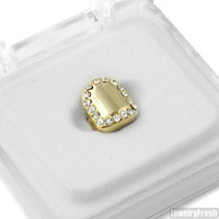 GOLD TONE CRYSTAL ICED SINGLE TOOTH CAP UNIVERSAL GRILL