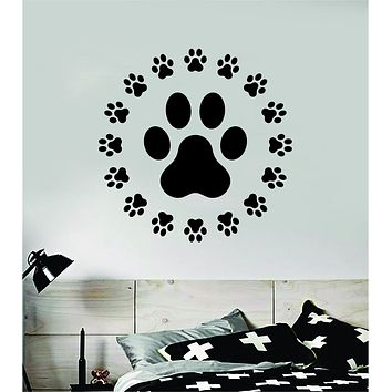 Dog Paw Circle Decal Sticker Wall Vinyl Art Home Room Home Decor Animal Pet Vet Teen Adopt Rescue Puppy Doggy Cute Love
