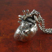"""Sterling Silver Heart Necklace - Anatomical Heart Pendant on 24"""" Antique Silver Chain"""