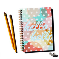 Hello, hello cheerful notebook by Sloshe / sketchbook, journal, spiral, gold, rainbow, dots