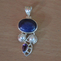Genuine Lapis Lazuli Pendant,Oval Sterling Silver Lapis Lazuli Pendant,Amethyst Pendant,Pearl Gemstone Pendant,Mothers Day Gift Birthstone