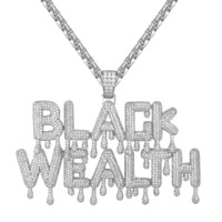 Custom Men's  Black Wealth Drip Letter Pendant Chain