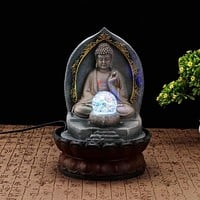 Resin Zen Indoor Buddha Fountain With LED Light