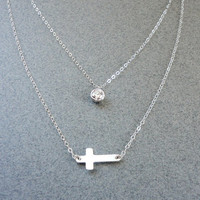 Sideways cross necklace, Cubic zirconia dangle necklace, Double strand necklace - Sterling silver, Wedding jewelry, Bridesmaid gift