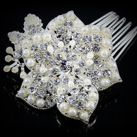 Thurma Romantic White Pearl Flower Hair Comb | Pearl | Crystal