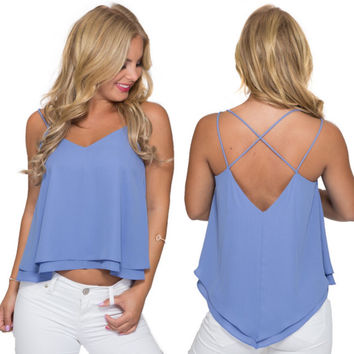 Take Two Blouse Tank In Periwinkle