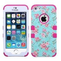 For Iphone 5S 5- Hybrid Triple Layer High Impact Tuff Verge Shield Heavy Duty Hard Cover Fitted Soft TPU Skin Case Protector + Clear LCD Screen Protector Shield Guard + Touch Screen Stylus Pen (White Poka Dots Floral / Pink Verge)