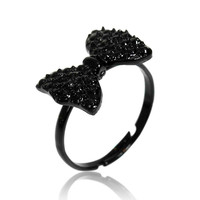 Adjustable Black Bowknot Rhinestone Finger Ring