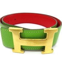 Auth Excellent HERMES H Buckle Constance Circle Z Size 62 Reversible Belt 53353