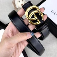 GUCCI Tide brand classic double G buckle simple wild belt