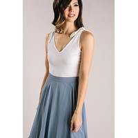 Jules White Shoulder Tie Crop Top
