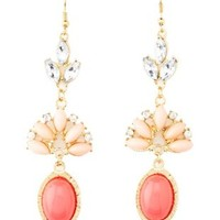Smooth & Faceted Stone Dangling Earrings by Charlotte Russe - Gold