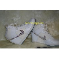Custom Bling White Nike Dunk Sky Hi Wedge