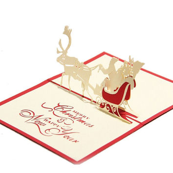 New Year Merry Christmas Tree 3D Pop Up Paper Handmade Custom Greeting Cards Christmas Gifts Postcards Birthday Message Card