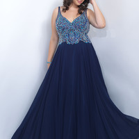 Illusion Straps Plus Size Too Prom Dress by Blush 11058W