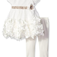 Baby Girls' 2 Piece Dress with Sattin Rosette and Legging