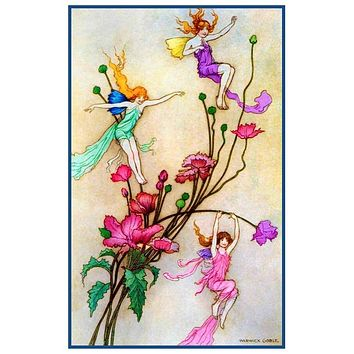 Fairies 3 Spirits Filled With Joy by  Warwick Goble Counted Cross Stitch Pattern