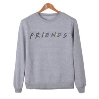 Friends TV Show Letter Print Women Hoodies Casual O-Neck Long Sleeve Sweatshirt Loose Tops Autumn Winter Grey Pullovers