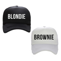 BLONDIE BROWNIE Print Trucker Caps Polyester Women Gift For Her High Quality Flat Bill Hip-Hop Snapback Hat Gorras Free Shipping