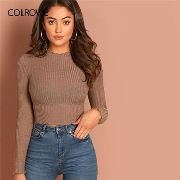 Lettuce Trim Solid Sexy Knit Crop Top for Women