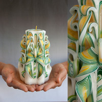 Carved candles - Green candle - Unique candle