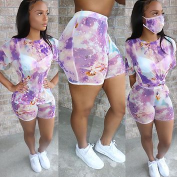 2020 summer women's tie-dye round neck casual fashion t-shirt sports shorts suit + same mask purple