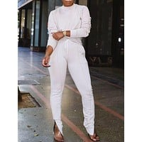 Elastic White Long Sleeves Sweat Suit Ankle Zipper Newest Fashion