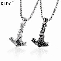 KLDY Norse Viking Anchor Pendants & Necklaces Stainless Steel thor's hammer mjolnir Pendant Collier Body Choker Chain necklace