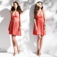 Red Cross Strap Sleeveless Casual Prom Party Club Mini Dress free shipping