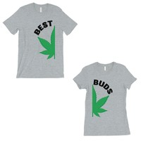 Best Buds Marijuana Matching Couple T-Shirts Grey Wedding Gift