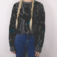 Vintage 80s Black and Teal Sweater