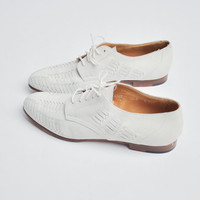 RALPH LAUREN white suede oxfords / brogues / white leather shoes / 8 / 288s