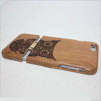 Night Owl Pattern Handmade Natural Wood Wooden Hard Case for iPhone 6 plus, iphone 6 wooden case