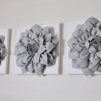 Three Gray Dahlias on White Canvases Canvases