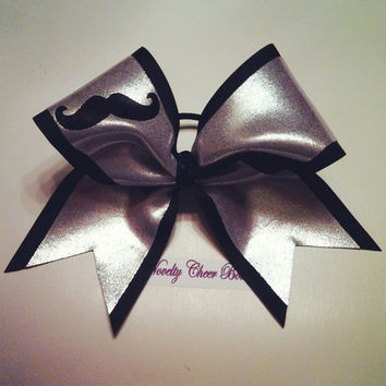 Silver and Black Mustache Medium Cheer Bow with Sequin Center