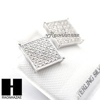 Sterling Silver .925 Lab Diamond 11mm Square Screw Back Earring SE008S
