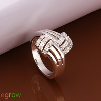 Silver Plated Braid Rhinestone Inlaid Bridal Wedding Ring (Size: 8, Color: Silver) = 1841509060