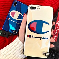 Champion IPhone7plus iPhone7plus phone set popular logo personality 6s full package soft iphonex couple hang rope 8.White