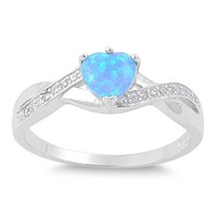 Classic Heart Shaped Blue Lab Opal Twist CZ Ring in Sterling Silver Size 8