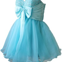 Faironly Girls Turquoise Short Homecoming Prom Dress