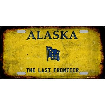 Alaska The Last Frontier Rusty Distressed License Plate Tag