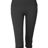 LE3NO Womens Active Stretchy 3/4 Length Workout Legging Capri Sports Pants (CLEARANCE)