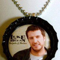 """Luke Bryan Bottlecap Necklace, comes on 18"""" silver colored ball chain"""