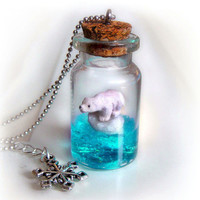 Polar bear bottle necklace, bottle pendant with a bear on a floating ice berg in the ocean scene