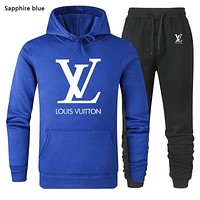 LV autumn and winter models men and women all-match simple hooded sweater trousers two-piece suit